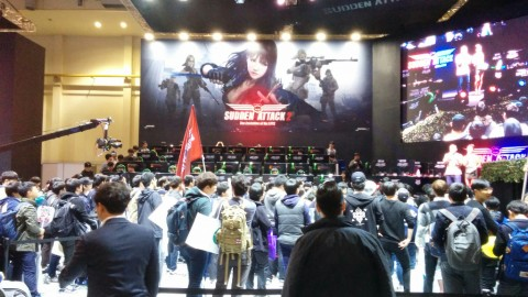 Korean players watching an e-Sports competition during G-STAR 2015